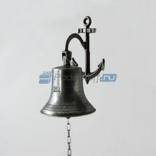 """Сувенирная рында """"1942"""" на кронштейне-якоре, корабельный колокол, d 14 см, цвет антик"""