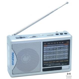 Hyundai Радиоприемник портативный Hyundai H-PSR160 серебристый USB microSD