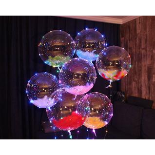 Falali Шар (18''/46 см) Сфера 3D, Deco Bubble, Розовый, Кристалл