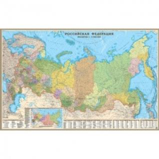 Настенная карта РФ политико-административная 1:5,5млн.,1,6х1,0м.,наотвесах