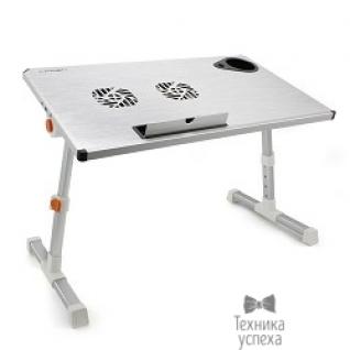 """Crown CROWN Столик для ноутбука CMLS-101 (silver) ( 17"""", активное охлаждение, алюминий, регулировка высота и наклона, размеры панели (Д*Ш): 50*28см, максимальная высота: до 32см)"""