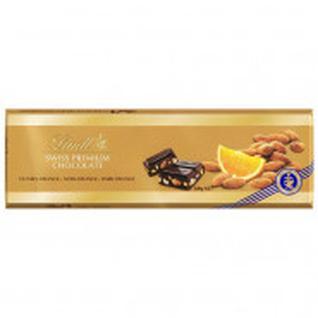 Шоколад Lindt Gold темный с апельсином и миндалем, 300г