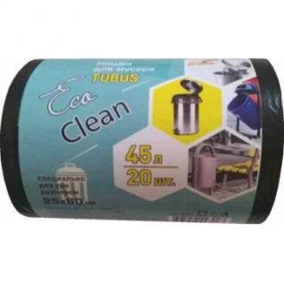 Мешки для мусора ПВД 45л 40x90см 25мкм черные 20 шт/рул EcoСlean Tubus