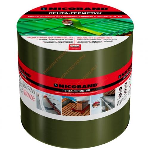 ТЕХНОНИКОЛЬ Никобенд гидроизоляционная лента 15см х 10м зеленый / NICOBAND гидроизоляционная лента 15см х 10м зеленая Технониколь 36984023