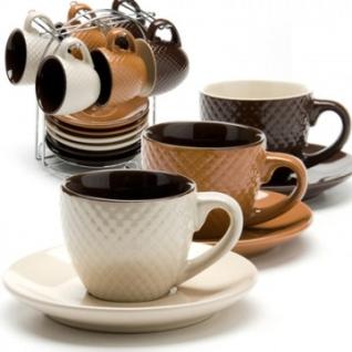 Сервиз чайный 6 чашек(90мл)+ 6 блюдец на подставке LR(х8) (24667)