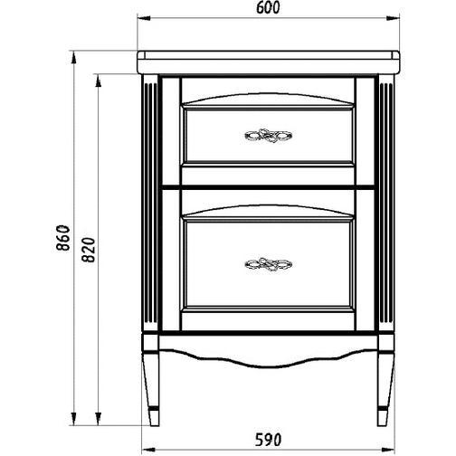 Подстолье Римини Nuovo 60 (Белый/Патина серебро) ASB-Woodline 38117060 2