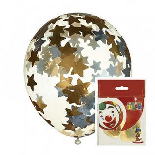 Набор шаров с наполнение звезды золото/серебро 2шт (латекс) M CS 12/30см