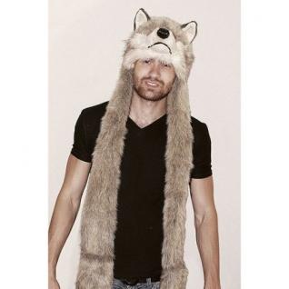 TrueFur Шапка меховая с рукавицами Волк H0059