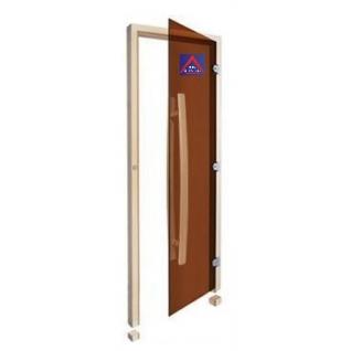Дверь SAWO 741-3SGA-R-1, бронза без порога с вертикальной изогнутой ручкой 558, правая, осина