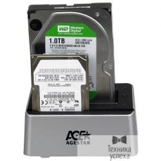 """AgeStar AgeStar 3UBT3(6G) USB 3.0 Докстанция 2x2.5""""/3.5"""" SATA HDD/SSD AgeStar 3UBT3 USB3.0, пластик, серебристая, BackUp, JBOD 06944"""