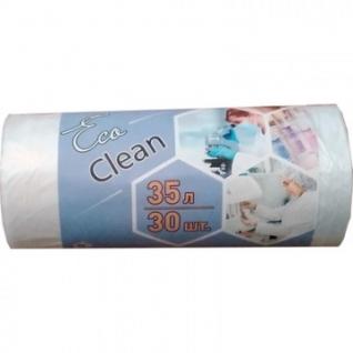 Мешки для мусора ПНД 35л 6мкм 48х55см30шт/рул., белые Ecoclean