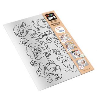 """Развивающие игрушки для малышей Десятое Королевство HappyArt TD83154 Коврик-раскраска многоразовый """"Африканские зверюшки"""", 48х34см"""