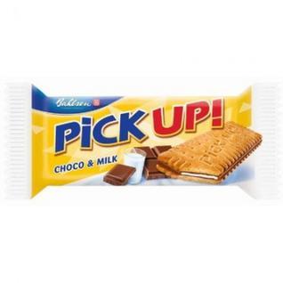 Печенье -сэндвич Pick-up choco&milk с плиточкой шоколада 24шт*28г