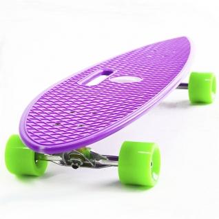 Скейт борд 4-колёсный Hubster Cruiser 36 фиолетовый с зелёными колесами