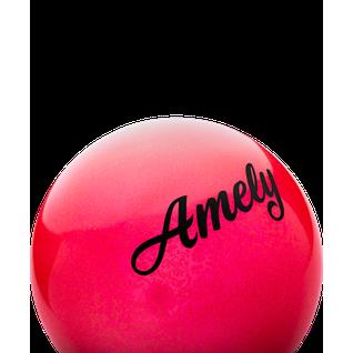 Мяч для художественной гимнастики Amely Agb-102, 15 см, красный, с блестками