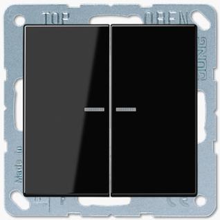 Выключатель Jung LS серия (505U5-LS995KO5SW) двухклавишный с подсветкой 10А черный пластик