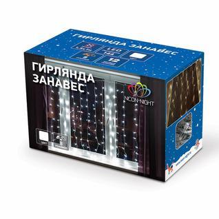 Гирлянда светодиодная Дождь 96LED 1,5x1м, МЕРЦАНИЕ, БЕЛЫЕ 235-025