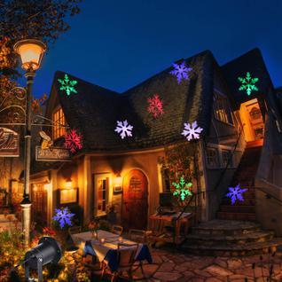 Уличный новогодний проектор Цветные снежинки
