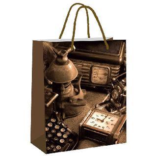 Пакет подарочный ламинированный Ретро-репортер, бол26x32.4x12.7см арт.48599