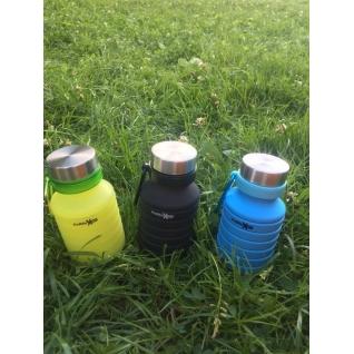 Бутылка для воды силиконовая складная гофра 500 мл черная Hobbyxit
