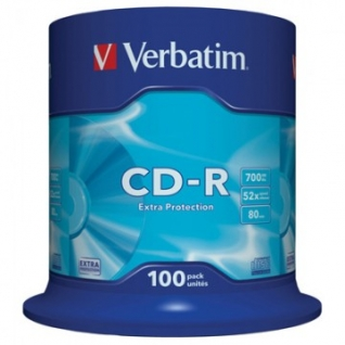 Носители информации Verbatim CD-R 700MB 52x CB/100 43411 Extra Protect