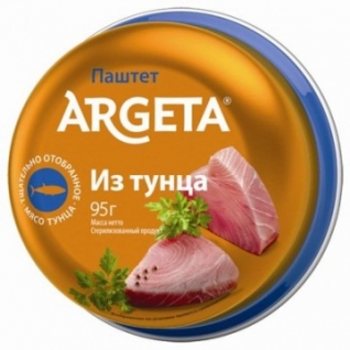 Рыбные консервы Паштет из тунца Argeta 95г