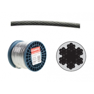 Трос стальной в ПВХ SWR M4 PVC M5 DIN 3055 (бухта/200м) (STARFIX) STARFIX
