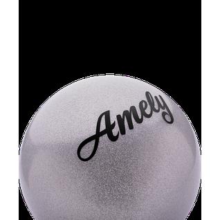 Мяч для художественной гимнастики Amely Agb-102 15 см, серый, с блестками