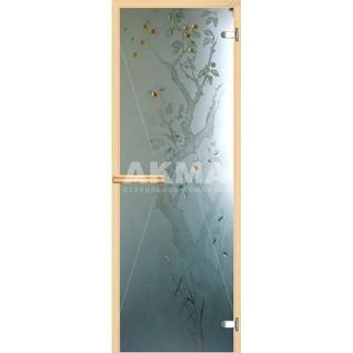 Дверь для бани АКМА АРТ с Фьюзингом ЯБЛОНЯ 7х19 (коробка осина или липа)