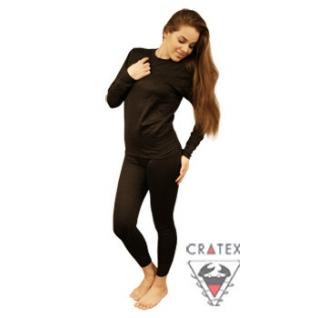 Термобелье женское с хитофайбером Cratex, черное (Размер S (44))