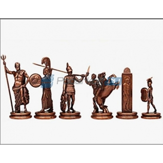 """Шахматы """"Троянские воины"""" в кейсе (красная доска), очень большие"""