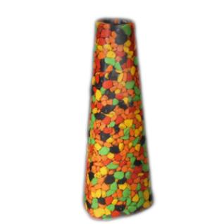 Подсвечник для тонкой свечи, 17 см, Кварц окрашенный, смесь цветная: красный, оранжевый, зеленый , черный, желтый