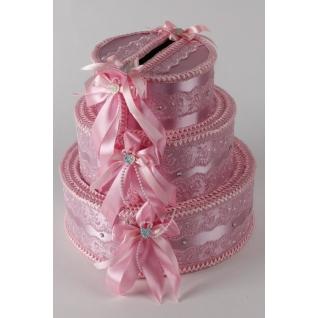 Копилка Торт с бантами №20, розовый