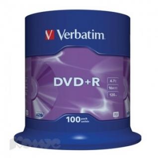 Носители информации Verbatim DVD+R 4,7Gb 16х Cake/100 43551