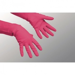 Перчатки хозяйственные латексные Многоцелевые Vileda, красный, M, 100750