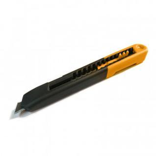 Нож канцелярский 9 мм Альфа-мини, с фиксатором, пластик, цвет оранжевый