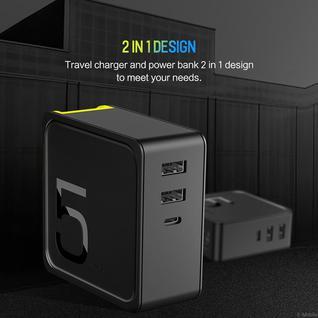 Внешний аккумулятор и блок питания Rock Space Sugar 2-in-1 Power Bank and Wall Charger 5000 mAh