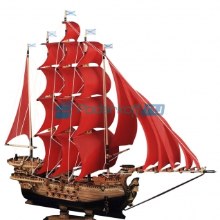 "Макет корабля ""Алые паруса"" с шелковыми парусами, 70 см"