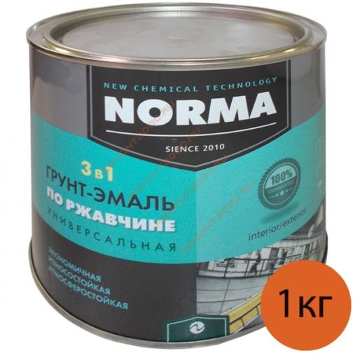 НОВОКОЛОР краска по ржавчине зеленая матовая (1кг) / НОВОКОЛОР Норма грунт-эмаль 3 в 1 для металла по ржавчине зеленая матовая (1кг) Новоколор 36983587
