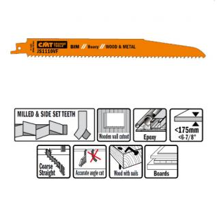 Пилки сабельные СМТ 5 штук для дерева и металла(BIM) 225x3,2-5x5-8TPI JS1110VF-5