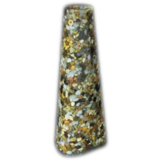 Подсвечник для тонкой свечи, 17 см, Смесь натуральная: галька бежевая, белая, серая, черная