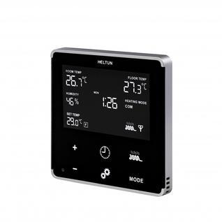Термостат теплого пола Heltun, черная панель, серебристая рамка HE-HT01-SK