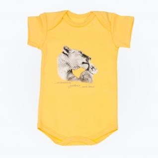 "Боди ""Мама и малыш"" - Тигры, с коротким рукавом, желтое, р. 68 Leo"