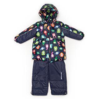 Комплект MalekBaby (Куртка + Полукомбинезон), Без опушки, №338/1 (Монстры на синем+синий) арт.409ШМ
