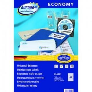 Этикетки самоклеящиеся Europe, ELA001, 38х21,2мм/65шт на листеА4 (100лист/у