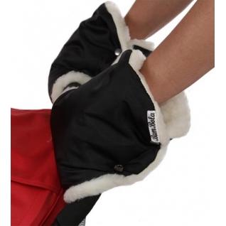 Муфта для рук BamBola шерстяной мех+плащевка(лайт) Черные 153В цельные