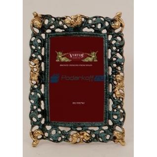 """Фоторамка из бронзы """"Мерилин"""" малая, цвет синий с золотом (размер фото 9х13)"""